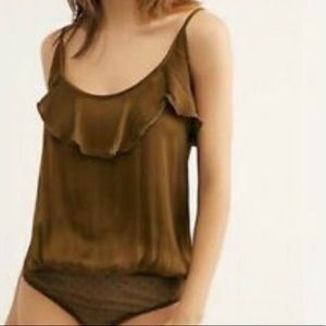 NWT free people not tired silky ruffle bodysuit
